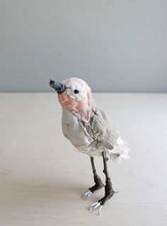 little peach bird / soft sculpture animal