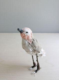 little peach bird / soft sculpture animal. Regina, via Etsy.