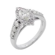 #Malakan #Jewelry - White Gold Marquise Diamond Engagement Ring 75108F #Bridal #Weddings #EngagementRings #Diamonds