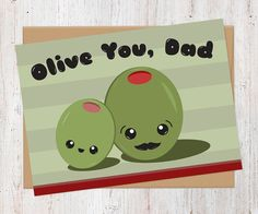 Olive You Dad  Father's Day Card  100% Recycled by AlluringPrints