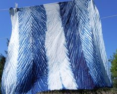 Indigo shibori silk scarf from Stephanie Robertson's Making Your Mark class at Sievers.