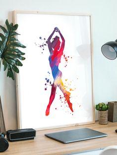 Teen Room Decor, Dance Studio, Girl Dancing, Printed Materials, Art Girl, Gallery Wall, Greeting Cards, Watercolor, Art Prints