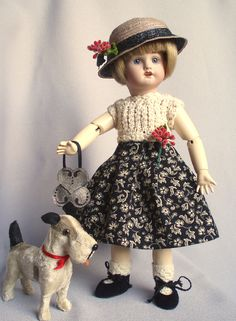 Knitted bodice with attached skirt, matching straw hat and purse and suede shoes for Bleuette .  All made by House-of-Bleus