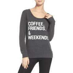 Chaser Coffee, Friends & Weekends Lounge Pullover ($30) ❤ liked on Polyvore featuring tops, sweater pullover, chaser tops, pullover top, scoop neck top and long sleeve scoop neck top