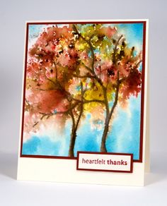 I created these trees in two steps. First I inked the trunk and branches with markers then I stamped the 'foliage' with water and dropped bistre powder into it. When it was dry I added the sky with distres stain.  http://cards.heathertelford.com/2015/09/28/fall-trees-with-bister/