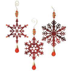 Vintage Beaded Metal Snowflake Christmas Ornaments