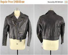 Original 1950s Vintage Horsehide Motorcycle Jacket / 50s Black Leather Moto Biker Jacket / Rockabilly Menswear / Wild Bunch / Steer Hide #BlackLeatherJacket #LeatherCoat #VintageJacket #MotorcycleJacket #LeatherJacket