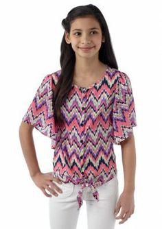 Sequin Hearts  Chevron Angel Sleeve Top Girls 7-16