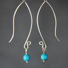 Silver open oval hoop stone drop earrings by AnniDesignsllc