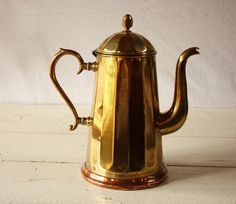 Copper and Brass Belgian JIMA coffee pot / Rue Des Louves - French Vintage