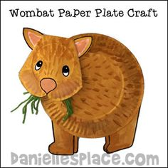 Wombat Paper Plate Craft - Australian Crafts for Kids Australia For Kids, Australia Crafts, Australia Animals, Preschool Crafts, Kids Crafts, Arts And Crafts, Kangaroo Craft, Kangaroo Pouch, Fille Au Pair