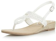 Womens white head over heels by dune levies plaited toepost sandal from Dorothy Perkins - £29 at ClothingByColour.com
