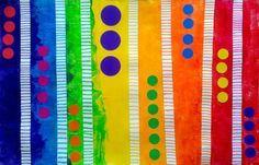 Graphisme lignes verticales et horizontales- Repères dans l'espace- Peinture, gommettes et feutre- Arc en ciel