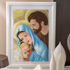 Canovaccio e schema su carta a quadretti per realizzare il quadro a mezzo punto della Natività - Figure Sacre - Madonna - Giuseppe - Gesù.