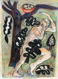 """Adam"" by Michael Kirkman (monoprint)"