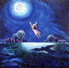 big Moon Hug Painting  - big Moon Hug Fine Art Print