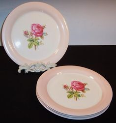 FOUR Dinner Plates: Homer Laughlin Moss Rose (Great Cond. & Double from ruthsredemptions on Ruby Lane
