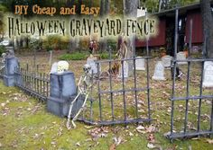 This Halloween graveyard is a must for your DIY outdoor Halloween decorations! Create a spooky, cheap, and easy Halloween fence and be the talk of the town! Diy Halloween Graveyard, Halloween Fence, Halloween Outside, Halloween Tombstones, Outdoor Halloween, Halloween Projects, Diy Halloween Decorations, Holidays Halloween, Halloween Ideas