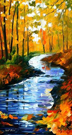 Each river painting by Leonid Afremov brings the freshness of cold torrents into our homes. This piece of stream art depicts an autumn stream in such a way that you can nearly hear its voice. Title: Autumn stream Size: 20 x 36 inches (50 cm x 90 cm) Condition: Excellent Brand