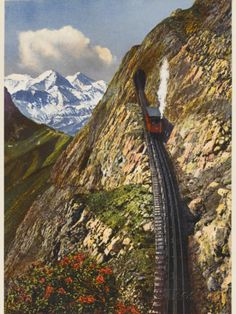 Mt Pilatus Railway, Switzerland, the world's steepest cogwheel railway Places Around The World, Travel Around The World, Around The Worlds, Glacier Express, Places To Travel, Places To See, Trains, Train Tracks, Wonders Of The World