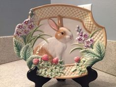 Fitz And Floyd Botanical Bunny Canape Plate