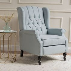 $270 BUY NOW In a beautiful light blue, this pieceis the perfect balance betweeneleganceand comfort.