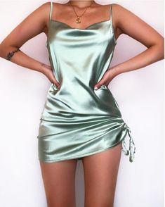 Mint colored satin mini dress on We Heart It Boujee Outfits, Cute Casual Outfits, Teen Fashion Outfits, Stylish Outfits, Casual Dresses, Fashion Dresses, Short Tight Dresses, Latest Gown Design, Satin Mini Dress