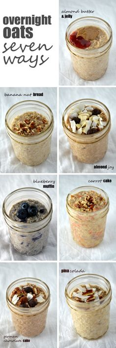 Healthy Fit Overnight Oats Seven Ways -- a week's worth of healthy, filling breakfasts in no time! - Overnight oats are an incredibly simple, delicious and completely customizable breakfast on the go, and these are my seven favorite ways to eat it! Think Food, Love Food, Muesli, Granola, Healthy Snacks, Healthy Recipes, Delicious Recipes, Apple Recipes, Healthy Filling Meals