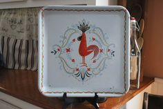 Farm house vintage rooster white and red painted by ApplesauceInn