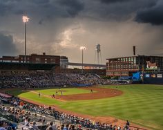 Photographer Frank Hunter has this photograph on exhibit as part of the Bull City Summer exhibit at CAM Raleigh--Durham Bulls Athletic Park. Bull Durham, Go Yankees, Central University, Mlb Stadiums, Famous Sports, Minor League Baseball, Carolina Hurricanes, Boston Strong, Tampa Bay Rays