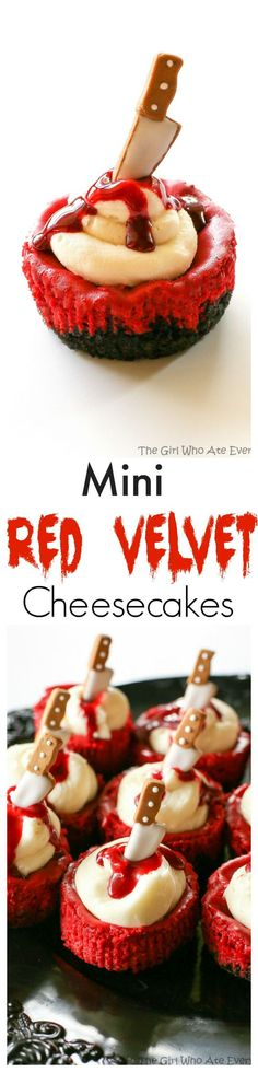 Mini Red Velvet Cheesecakes - moist red velvet cheesecake with an Oreo crust. The best recipe I've ever had. Topped with cream cheese for the ultimate indulgence. Add some edible blood for a dramatic Halloween dessert. the-girl-who-ate-everything.com