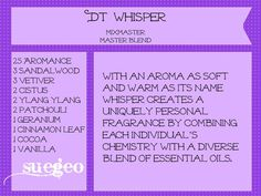 Another Copycat blend for DT Whisper.  Aromance is a blend from Eden's Garden.  Let this blend sit over time, as it takes a while for it's true fragrance to come through