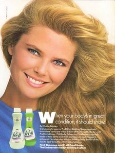 food adds from 1986 | Christie Brinkley for Prell Shampoo ad 1986