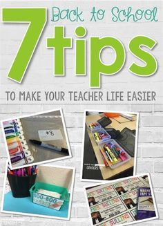 7 tips for making your elementary teacher life easier when it's time to go back to school! Plus a FREE resource! Organization ideas for supplies, calendar number hacks, free name tag reference sheets and teacher magnet templates.