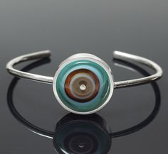 Lampwork Glass Cuff Bracelet, Art Glass Jewelry, Round Silver and Glass with Subtle Colors Enamel Jewelry, Glass Jewelry, Glass Beads, Unique Jewelry, Lampworking, Turquoise Glass, Sterling Silver Cuff Bracelet, Cuff Bracelets, Stud Earrings