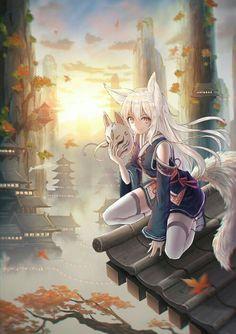 Anime Girl Neko << noooo it's a kitsune Anime Wolf Girl, Anime Girl Cute, Beautiful Anime Girl, Kawaii Anime Girl, Anime Art Girl, Anime Girls, Anime Neko, Manga Anime, Anime Ninja