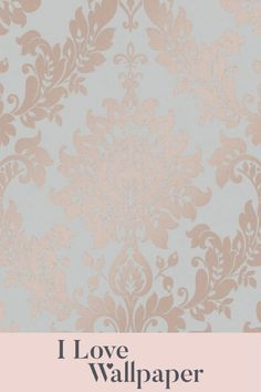 This gorgeous damask pattern has a stunning finish accompanied by light reflective metallic elements, providing a warm and welcoming feel to any living area in your home. Damask Wallpaper, Love Wallpaper, Pattern Wallpaper, Butler Pantry, Living Area, Metallic, Rose Gold, Romantic, Warm