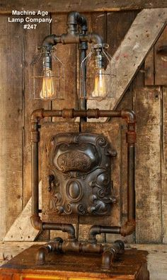 SteamPunk Industrial Lamp, Antique Iron Door and Barn Wood (Ready To Ship) - #247