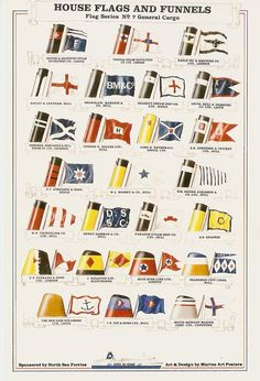 Funnel colours & company flags of the General Cargo Lines