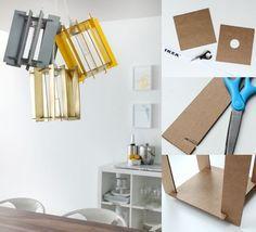 fabriquer une lampe suspension avec un abat-jour grand format à partir de carton