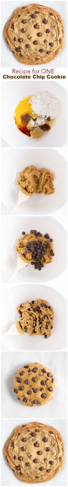 Recipe for One Chocolate Chip Cookie - this is one of my FAVORITE recipes EVER!! Only took 5 minutes prep too.