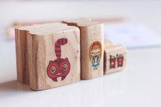 Alice Set Stamp, Rubber Stamp, Stamp for Crafting, Scrapbook Stamp, Illustrated Stamp, children stamp, polymer stamp, kawaii stamp, DIY
