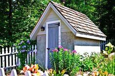 Cottage gardening around shed