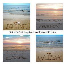 Inspirational Words 5x5 Sandwriting Print set by malibelle on Etsy, $32.00