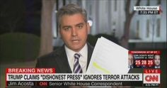 CNN's Jim Acosta reported that the White House released a list of terrorist attacks that the Trump administration did not believe were adequately covered by the news media, including the 2015 attacks in Paris and San Bernardino, California, and the 2016 mass shooting in an LGBTQ nightclub in Orlando, Florida. According to the 2016 Tyndall report, w