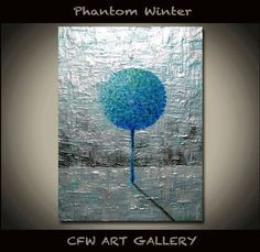 Tree, Art, Painting, Acrylic painting, Original abstract impasto painting, Metallic silver Abstract Modern wall Art painting 5x7 on Etsy, $49.00