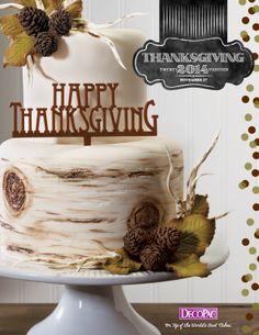 Thanksgiving Flyer Cover: thanksgiving cake, stacked cake, birch tree cake, acorn cake, leaf cake, modern cake, fondant cake