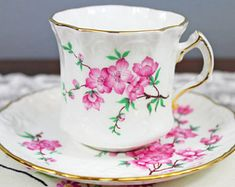 Vintage Hammersley Pink Cherry Blossom Embossed Textured English Bone China Teacup and Saucer - Spode Group, Wedding Tea Party Favor
