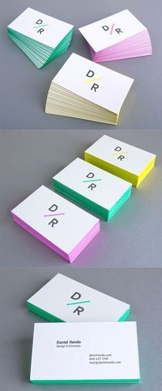 Bright Minimalist Design Edge Painted Letterpress Business Card