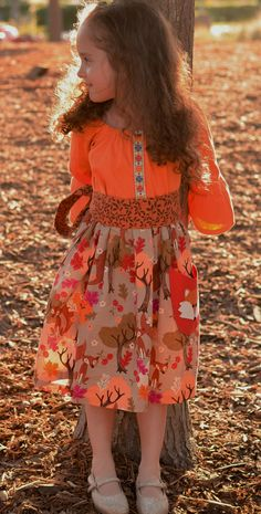 Girls Fall Dress, Back to School, Fox Applique, Thanksgiving Dress,Handmade by Outtahand Creations Boutique